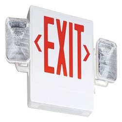 ACUITY BRANDS LIGHTING - Contractor Select  Economy Grade Exit/Emergency Light Red - Meets UL 924, NFPA 101, NFPA 70-NEC and OSHA illumination standards. One-year warranty White White thermoplastic emergency exit/unit combo. Injection-molded, flame-retardant, high-impact, thermoplastic housing with snap-fit design components for easy installation. Universal J-box pattern. Universal chevrons are easily removed for directional indication. Fully assembled single face with extra faceplate for easy field-conversion to double face. Track and swivel arrangement permits full range of lamp adjustment. LED expected life is more than 10 years. Two 5.4W DC 5 wedge-base lamps for emergency light. Dual-voltage input 120V or 277V AC. Emergency combo provided with test switch, status indicator and rechargeable battery. Maintenance-free battery provides 90 minutes of emergency power. - Manufacturer: Acuity Brands Lighting