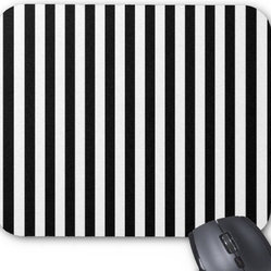 Artistic Abstract Retro Stripes Lines White/Black Mouse Pad