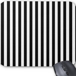 Artistic Abstract Retro Stripes Lines White/Black Mouse Pad - The visual impact of any black and white stripe is going to be big, so something as small and simple as a mouse pad will be noticeable.
