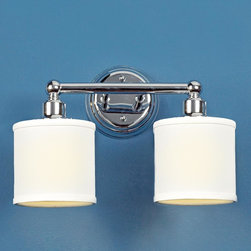 2 Light Linen Drum Shade Bath Light - Bronze or Chrome -