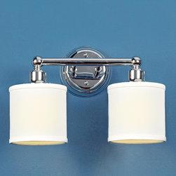 2 Light Linen Drum Shade Bath Light - Bronze or Chrome -