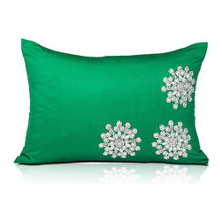Frontgate - Emerald Green Crystal Whiteflake Pillow - Decorative snowflake holiday throw pillow. Emerald green silk-blend fabric. Hand-applied glass crystal snowflakes design. Ideal holiday accessory for couches, love seats, and chairs. Zipper closure for easy care. The three large snowflakes on this holiday pillow make a stunning impression against a backdrop of emerald green. The silk blend fabric is embellished with glass crystals so snowflakes glisten in a delightful winter wonderland scene. Perfect holiday decor accessory to accent couches, love seats, and arm chairs throughout the season.  .  .  .  .  . Insert included . Imported.