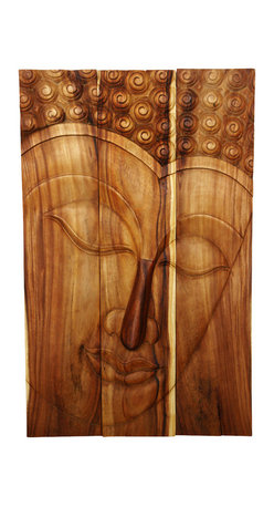 Kammika - Buddha Panel Serene Sustainable Wood 30 x 47 inch H w  Eco Friendly Tung Oil Fin - This beautiful Buddha Panel Serene 30 inch length x 47 inch height x approximately 6 inch thickness, including the approximately 4 inch protruding nose, Sustainable Monkey Pod wood in Eco Friendly, Natural Tung Oil Finish Wall Panel presents a Buddha peaceful countenance gazing down from the magnificent, stately resource of wood. Discover the calming, inspiring effect of Buddha in the Serene stage when you display this wall panel that has been carved from joining panels. Each of the joined panels has two embedded flush mount Keyhole hangers for a protruding screw from your wall. Alternately, you can place on the floor at a slight angle. These panels are carved by craftspeople in Thailand, who spend hours shaping, sanding, and finishing these wonders of wood. These are made of sustainable wood grown for the woodcarving industry. Panels are shipped in sections for ease of shipping and a more manageable hanging weight. The Tung oil finish is translucent, so the wood grain detail is highlighted. Polished to a matte water resistant and food safe finish, the light and dark portions of wood turn to darker shades of brown over time, and the alkaline in the oils creates a honey orange color. There is no oily feel and cannot bleed into carpets. We make minimal use of electric hand sanders in the finishing process. All products are dried in solar or propane kilns. No chemicals are used in the process, ever. After each piece is carved, dried, sanded, and rubbed with Tung oil, they are packaged with cartons from recycled cardboard with no plastic or other fillers. The color and grain of your piece of Nature will be unique, and may include small checks or cracks that occur when the wood is dried. Sizes are approximate. Products could have visible marks from tools used, patches from small repairs, knot holes, natural inclusions or holes. There may be various separations or cracks on your piece when it arrives. There may be some slight variation in size, color, texture, and finish.Only listed product included.