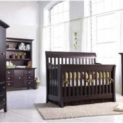 "Bonavita Metro Lifestyle 4 in 1 Convertible Crib Collection - The perfect blend of style cosmopolitan appeal and practical function the Bonavita Metro Lifestyle Crib Collection is a study in both modern and traditional senses providing you the best of both worlds. Designed to be at home in most settings this handsome crib will also impress you with its versatility. The three-position mattress support lets you adjust your baby's sleeping position for maximum convenience and comfort. Plus this crib converts easily from a crib to a toddler bed day bed and full-size bed. Just add the guard rail and bed rail conversion kits and you'll have a piece of furniture that will be fully functional through infancy adolescence and even up to the college years. What's more this Lifestyle Crib received the Consumers Digest """"Best Buy"""" award which means you can be assured of a piece of furniture that will as functional as it is fetching. Along with the crib you can also choose other pieces to create just the right nursery for your little one. The dresser and chest offer plenty of storage for your child's clothes diapers and other necessities while the nightstand keeps nighttime essentials like baby wipes pacifiers and baby monitors within arm's reach. The top of the double dresser can also be used as a changing surface for your baby with the addition of a changing pad whereas the spacious hutch is just what you need to keep your child's favorite Elmo and Barney books handy. Traditional dovetailed joints mean hassle-free smooth operation while sturdy construction from select hardwoods ensures each piece will offer years of function. Choose from a selection of attractive lead-free finishes to best complement your existing decor and color scheme. Dimensions: Lifestyle Crib: 55.6L x 34W x 48H inches Double Dresser: 56L x 20.5W x 32H inches 5 Drawer Chest: 42L x 20W x 49H inches Nightstand: 24L x 18W x 24H inches Hutch: 56L x 14W x 42H inches About LaJobiAs a wholly-owned subsidiary of Kid Brands Inc. LaJobi has been designing manufacturing and marketing child-friendly products the world over. Emphasizing stylish well-priced juvenile furniture with a European flair this Cranbury New Jersey-based company has been anticipating and meeting customer needs with brands like Bonavita Europa Baby Kathy Ireland Baby and Graco. Today LaJobi operates in every phase of the product cycle from design to the final sale helping customer create the environments they want and need for their children."