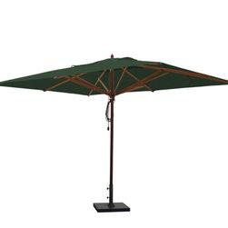 Greencorner - 10'x13' Mahogany Umbrella, Forest Green - 10'x13' Rectangle