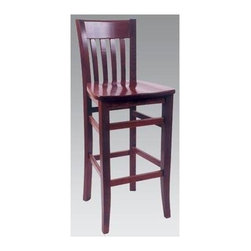 "Alston - Solid Wood Bar Stool w Vertical Slat Back (Na - Finish: Natural* Classic shape with a vertically slatted back and a smooth seat. Solid wood. 10780. 30"" seat height. Perfect for restaurants, bars and hotels"