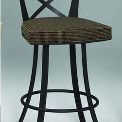 """Johnston Casuals - Windsor 30"""" Quick-Ship Swivel Barstool - Add a splash of modernistic flair to your home bar or kitchen with this stylish Windsor 30"""" Quick-Ship Swivel Barstool. With its striking crossed metal back, swivel seat, and trendy flared legs, this contemporary barstool is sure to modernize your dcor. This barstool sports one of Johnston Casuals' most popular fabric and finish combinations. As a result, this barstool ships out quickly so you can enjoy its sleek contemporary styling in no time! And if a barstool doesn't fit your needs, be sure to check out the Windsor 26"""" Quick-Ship Swivel Counter Stool! Swivel Barstool Features: -Old gold finish with """"blair coin"""" fabric seat. -Quick-ship fabric and finish combination gets to you fast. -Individually hand-crafted in the USA. -High quality powder-coat metal construction. -Commercial-grade welding. -Stylish contemporary barstool design. -Striking crossed metal seat back. -Swivel barstool. -Trendy flared legs. -Seat height: 30"""". -Overall dimensions: 44"""" H x 20"""" W x 22"""" D. -10-Year structural failure warranty on metal frame."""
