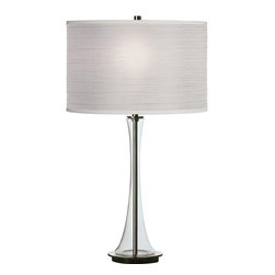 Robert Abbey - Kate Table Lamp, White With Clear Glass - This innovative lamp will have you thinking completely differently about your light source. It features a shapely, clear glass column with polished nickel and gunmetal accents as its base. The showstopper, however, is the pleated organza shade, which lets off an ethereal glow that will emanate through your whole room.
