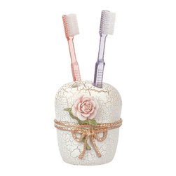 Renovators Supply - Toothbrush Holders Beige Ceramic/Resin Toothbrush Holder 6.5'' H - Ceramic Toothbrush Holder. Porcelain, ceramic and resin in beige, gold & pink, with crackle finish.  Measures 6 1/2 in. high.