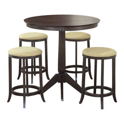 Hillsdale - Hillsdale Tiburon 5-Piece Pub Table Set in Espresso - Hillsdale - Pub Tables - 4917845 - Four attractive backless stools compliment this transitionally designed pub table. The extremely popular and versatile Espresso finish is complimented by the beige microsuede seat fabric. This group is a comfortable and handsome addition to your eat-in kitchen breakfast nook or game room.