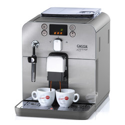 Gaggia - Gaggia Brera Silver - Packing a whole lot of machine into a compact, shiny stainless steel package, this home espresso maker makes it simpler than ever to serve up fully customized coffee drinks in your own kitchen. Control coffee aroma, strength and volume, and easily add frothed milk for lattes. The user-friendly design includes easily accessible parts for quick cleaning and a display for navigating custom options.