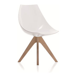 Pianca - Gamma: Modern Side Chair in Hard Polyurethane. - Made in Italy and shapely enough to be featured in a design museum, this mod polyurethane chair with blonde wooden legs has a subtle simplicity and a '60s feel. Zip up your white go-go boots and get yourself a set of these 'gamma' chairs to surround your favorite table.