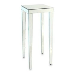 Wayborn Home Furnishing Inc - Beveled Mirror Pedestal Stand/Side Table - Perfect for an entryway, empty corner, or nook, this Beveled Mirror Pedestal Stand/Side Table provides a solid base for a vase of flowers, statuette, or sculpture. The beveled mirror accentuates items on display, adding subtle glamour to your decor.