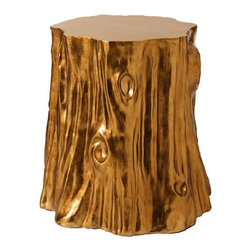 Arteriors Home - Arteriors Home Subin Stump Table - Arteriors Home 9899 - Arteriors Home 9899 - Cast resin tree stump finished in gold leaf foil. Consider arranging in a cluster in front of the sofa instead of the expected cocktail table. Can also be extra seating.