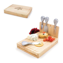 Picnic Time - Tampa Bay Buccaneers Asiago Folding Cutting Board With Tools in Natural Wood - The Asiago is a folding cutting board with tools that is another Picnic Time original design. This compact, fully-contained split-level cutting board is made of eco-friendly rubberwood. Lift up the top level of the board to reveal four brushed stainless steel cheese tools: a pointed-tipped cheese knife, cheese fork, cheese chisel knife, and blunt nosed hard cheese knife. The tools are magnetically secured to a wooden strip that lifts up so you can close the cutting board and display the tools. Designed with convenience in mind, the Asiago is great for home or anywhere the party takes you.; Decoration: Engraved; Includes: 4 brushed stainless steel cheese tools (1 pointed-tipped hard cheese knife, cheese fork, cheese chisel knife, and blunt nosed soft cheese knife
