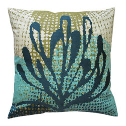 "KOKO - Ecco Pillow, Blue Leaf, 20"" x 20"" - The shades of blue and bits of green in this pillow will have you dreaming of the ocean. You might want to grab your scuba gear and explore the kelp forests. But for now, you'll have to settle for a cozy pillow."