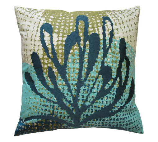 """KOKO - Ecco Pillow, Blue Leaf, 20"""" x 20"""" - The shades of blue and bits of green in this pillow will have you dreaming of the ocean. You might want to grab your scuba gear and explore the kelp forests. But for now, you'll have to settle for a cozy pillow."""