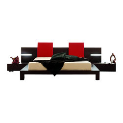 Rossetto - Rossetto Win Platform Bed with Lights 5 Piece Bedroom Set in Wenge - Rossetto - Bedroom Sets - T2666BBAX32065PcBedPKG - Rossetto Win Headboard Pillow in Red (Set of 2) (included quantity: 1) Style, comfort, and design integrated into one. The upholstered leather effect will further enhance the Win Float platform bed (sold separately).