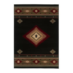 """Oriental Weavers - Southwestern/Lodge Hudson 7'8""""x10'10"""" Rectangle Black-Green Area Rug - The Hudson area rug Collection offers an affordable assortment of Southwestern/Lodge stylings. Hudson features a blend of natural Red-Green color. Machine Made of Polypropylene the Hudson Collection is an intriguing compliment to any decor."""