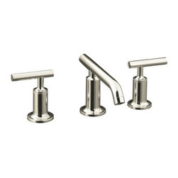 """KOHLER - KOHLER K-14410-4-SN Purist Widespread Lavatory Faucet with Low Spout and Low Lev - KOHLER K-14410-4-SN Purist Widespread Lavatory Faucet with Low Spout and Low Lever Handles in Polished NickelPurist faucets combine simple, architectural forms with sensual design lines and careful detailing. Both sculptural and functional, this widespread lavatory faucet promises inviting visual appeal of classic modernity, and features a low spout and low lever handles.KOHLER K-14410-4-SN Purist Widespread Lavatory Faucet with Low Spout and Low Lever Handles in Polished Nickel, Features:• Two-handle widespread lavatory faucet for 8"""" - 16"""" centers"""