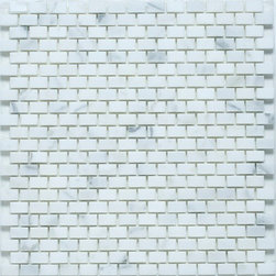 Mini Brick Mosaic - Bianco Carrara - Polished - Mini Brick Mosaic Tile- sample