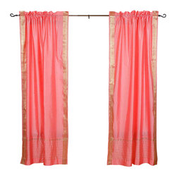 Indian Selections - Pair of Pink Rod Pocket Sheer Sari Curtains, 60 X 96 In. - Size of each curtain: 60 Inches wide X 96 Inches drop. Sizing Note: The curtain has a seam in the middle to allow for the wider length