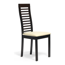 Inmod - Tova Dining Chair (Set of 2), Coffee / Cream Leatherette - Feeling hohum at mealtime? Add some drama and edge to your day with the Tova Dining Chair.