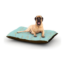 """Kess InHouse - Emma Frances """"Falling Florals"""" Blue Aqua Fleece Dog Bed (50"""" x 60"""") - Pets deserve to be as comfortable as their humans! These dog beds not only give your pet the utmost comfort with their fleece cozy top but they match your house and decor! Kess Inhouse gives your pet some style by adding vivaciously artistic work onto their favorite place to lay, their bed! What's the best part? These are totally machine washable, just unzip the cover and throw it in the washing machine!"""