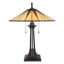 Cambridge - Tiffany-style Gotham 2-light Vintage Bronze Table Lamp - This distinctive style is a great way to bring the drama of Tiffany glass into a contemporary or modern room setting. The hand-cut,iridescent art glass is arranged to form a slender triangle pattern in shades of rich ebony and warm yellow.