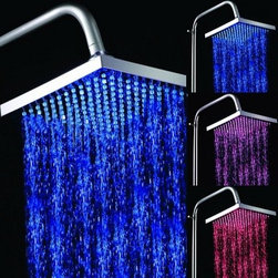 "8"" Color Changing LED Square Bathroom Shower Head - Feature:"