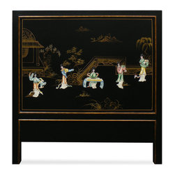 China Furniture and Arts - Hand-Painted Scenery with Chinese Maiden Design Twin Size Headboard - This beautiful twin size headboard depicts a Chinese courtyard scene and is accented with soap stone Chinese maiden figures on black matte finish wood. This piece is sure to create a spacious illusion in any contemporary bedroom.