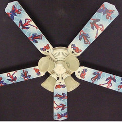 Ceiling Fan Designers - Ceiling Fan Designers Amazing Spiderman 3 Indoor Ceiling Fan - 42FAN-KIDS-AS3SM - Shop for Ceiling Fans and Components from Hayneedle.com! He lives and breathes Spiderman so the Ceiling Fan Designers Amazing Spiderman 3 Indoor Ceiling Fan is a no-brainer. This ceiling fan includes a light kit so it'll light up and cool down his room in style. It comes in your choice of size: 42-inch with 4 blades or 52-inch with 5. The blades are reversible so you get the Spiderman design on one side and white on the other. Just in case he wants to change it. It has a powerful yet quiet 120-volt 3-speed motor with easy switch for year-round comfort. The 42-inch fan includes a schoolhouse-style white glass shade and requires one 60-watt candelabra bulb (not included). The 52-inch fan has three alabaster glass shades and requires three 60-watt candelabra bulbs (included). Your ceiling fan includes a 15- to 30-year manufacturer's warranty (based on size). It is not an officially licensed product. Licensed products were used as decorations.