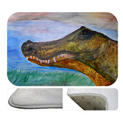 """usa - Alligator Head Bath Mat,  20"""" X 15"""" - Bath mats from my original art and designs. Super soft plush fabric with a non skid backing. Eco friendly water base dyes that will not fade or alter the texture of the fabric. Washable 100 % polyester and mold resistant. Great for the bath room or anywhere in the home. At 1/2 inch thick our mats are softer and more plush than the typical comfort mats. Your toes will love you."""