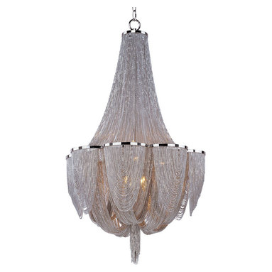 Chantilly 10 Light Chandelier by Maxim Lighting - Chantilly collection features metal frames gracefully draped with nickel finished jewelry chain. Metal trim rings of polished nickel add sharp contrast to the softness of the chain, which conceals the xenon light source. Available in a 6, 10, 12 or 14 light chandelier option as well as a wall sconce and ceiling flush mount version. Includes 180 inch wire and 36 inch chain. Ten 60 watt, 120 volt, T4 G9 base halogen lamps included. Genreal light distribution. UL listed. Suitable for dry locations. Canopy measures 6W x 3H. 22 inch diameter x 34.5 inch height.