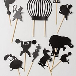 """Moulin Roty - Midnight Circus Shadow Puppets - Set of 11 shadow puppetsWood, paper9.25""""L, 3.25""""WImported"""