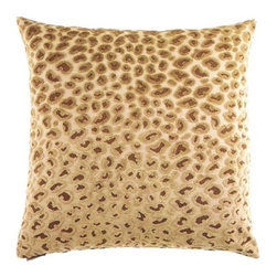 """Canaan - 24"""" x 24"""" Cheetah Gold Animal Print Throw Pillow - Cheetah gold animal print throw pillow with a feather/down insert and zippered removable cover. These pillows feature a zippered removable 24"""" x 24"""" cover with a feather/down insert. Measures 24"""" x 24"""". These are custom made in the U.S.A and take 4-6 weeks lead time for production."""