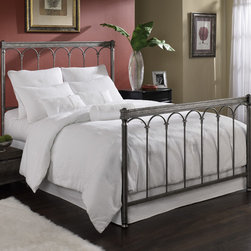 FBG - Romano Metal Bed - Classic Roman arches are the defining feature of the Romano Bed. The headboard and footboard's thick posts are joined by a top rail that rests above the arches, lending itself to a look not unlike the ancient aqueducts. Thin spindles extend to the bottom rail, close to the ground, giving the grill a long, refined feel. But it is the Romano's arches that give this metal bed its signature appearance and sophisticated grace. Completed in a Gleam finish its silver elegance blends perfectly with almost any decor. Features: -Romano collection. -Silver gleam finish. -Classic roman arches. -Spindles extend to the bottom rail, giving the grill a long and refined feel. -Blends perfectly with almost any decor. -Elegant, sophisticated and graceful.