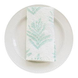 Frond Napkins, Pale Blue, Set of 4 - This 100% organic linen napkin set is uniquely hand designed, printed and sewn to bring joy and color to your table.