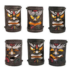 Zeckos - Set of 6 Colorful Friki Tiki Solar Accent Lights - This awesome set of Polynesian tiki solar garden lights is perfect for lighting pathways or fences, and makes a lovely garden accent. Included with each solar lamp is a post mounting bracket, a ground stake, 2 extension poles, and a pole connector so you can display them any way you choose. The lamps are made of cast resin, measure approximately 5 3/4 inches tall, 3 3/4 inches in diameter, have hand painted accents, and can also be displayed standing alone on table tops. The light is a yellow LED that flickers like a candle, turns on automatically in dark conditions, and lasts up to 10 hours with a full charge. This set is an essential addition to any tiki bar, is a wonderful decoration for island themed parties, and is sure to be admired.