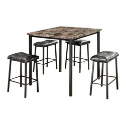 """Acme - 5-Piece Crossville II Square Faux Marble and Metal Counter Height Dining Table - 5-Piece Crossville II square faux marble and metal frame counter height dining table set. This set features a square top faux marble table with metal frame and leather like upholstered seat cushions. Table measures 36"""" x 36"""" x 36"""" H. stools measure 24"""" H to the seat. Some assembly required."""