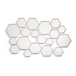 Upton Home Essence Geometrical Honeycomb Mirror - Are you on board with the hexagon craze? Of course you are! Everyone is. I love the layered and sculptural look of this wall mirror.