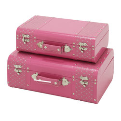 ecWorld - Jewel Studded 2-Piece Decorative Trunk Case Set - Pink - These stylish trunk set is both attractive and functional. The trunks come in two different sizes and are ideal for additional storage as well as adding a beautiful decorative touch to any room.