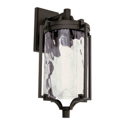 Trans Globe Lighting - Black Coastal Sea 21-Inch Wall Lantern with Clear Water Glass - - Enjoy outdoor breezes and coastal elements with water glass lanterns that add warm reflections across landscape and garden entry areas. Glass is open at bottom.  - 1 Light Wall Lantern  - Weather resistant cast aluminum  - Lantern attached to wall bracket and plate so it can withstand wind  - Clear water glass adds accent shadows to landscape and gardens  - Down direction bulb adds brighter light at entry area and porch  - Coastal inspired complete outdoor lighting collection  - Material; Cast Aluminum, Glass  - Bulbs not included Trans Globe Lighting - 40130 BK