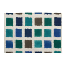 Blue & Teal Square Ikat Custom Placemat Set - Is your table looking sad and lonely? Give it a boost with at set of Simple Placemats. Customizable in hundreds of fabrics, you're sure to find the perfect set for daily dining or that fancy shindig. We love it in this woven cotton square ikat in oceanic tones of deep blue, teal, aqua & sand.