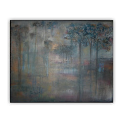 Sheri A Wilson - Surrealistic Canvas Landscape Decorative Acrylic Painting - Original Acrylic Tree Landscape Painting Decorative Painting to meet all wall decor. A deep lichen green with a mystery of turbulent dark mercury gray and rich burnt umber brown.