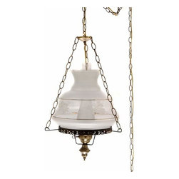 Summit Lamp Company - 27-Inch Victorias Window Swag Lamp - Etched Gold and White Spray Glass Shade Summit Lamp Company - 5124SW/VW