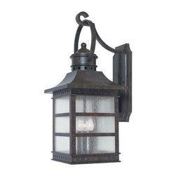 Joshua Marshal - Three Light Pale Cream Textured Glass Rustic Bronze Wall Lantern - Three Light Pale Cream Textured Glass Rustic Bronze Wall Lantern