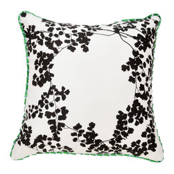 Bonnie and Neil - Maidens Hair Pillow - Black - Hand screen printed pillow on 100% natural linen. This two-sided, reversible throw pillow has a black maidens hair design on white linen on the front, with a contrasting oatmeal linen on the reverse. Finished with a pale blue and emerald green ribbon trim.