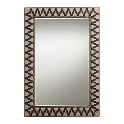 Arteriors - Ishtar Mirror - Enhance your favorite setting with this unusual beveled mirror. A zigzag pattern of leather and brass studding embellish the linen-upholstered rectangular frame to striking effect.