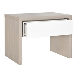 Safavieh - Jonco Side Table - Low slung and streamlined the Jonco side table is contemporary minimalism at its best. With straight-lined frame of grey-wash grained wood contrasted by a white lacquer drawer, the Jonco table is understated elegance for the living room or bedroom.